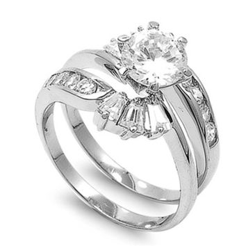 Sterling Silver CZ 2 carat Brilliant Round Cut Channel with Baguettes Wedding Ring Set 5-10
