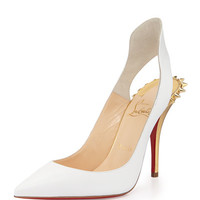 Christian Louboutin Survivita Spike Red Sole Pump, White/Gold