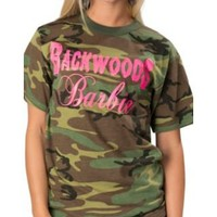 Backwoods Barbie® Ladies Camo w/ Neon Pink Backwoods Barbie Logo Short Sleeve Tee