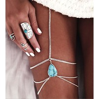 Bejeweled Silvery Leg Chain