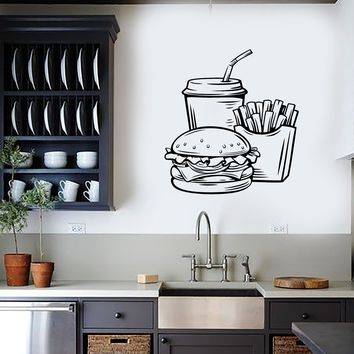 Vinyl Wall Decal Fast Food Soda Burger Drink French Fries Stickers Mural (ig5710)