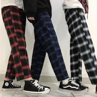 Retro Loose Plaid Pants