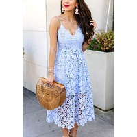 Light Blue Spaghetti Strap Lace Midi Dresses