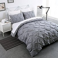 Sweet Home Collection 3 Piece Luxury Pinch Pleat Pintuck Fashion Duvet Set,Silver,Queen