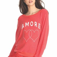 Wildfox Couture Amore Hearts Baggy Beach Jumper in Marinara