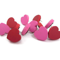 Heart Push Pins – Decorative Thumbtacks – Wood Hearts – Set of 12 – Red, Pink Heart Pushpins – Custom Thumb Tacks – Memo Board Tacks