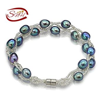 100% Natural Freshwater Pearl Bracelets Silver 925 Chain many colors Real pearl  gift  for  girl friend