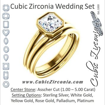 CZ Wedding Set, featuring The Shae engagement ring (Customizable Asscher Cut Split-Band Solitaire)