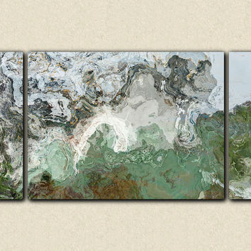 "Large triptych giclee stretched canvas print, 30x60 to 40x78, abstract expressionism in teal, green and gray, ""River Wind"""
