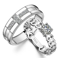 18k White Gold Plated Cross and Heart Couple Style Band Ring (Men's or Women's)