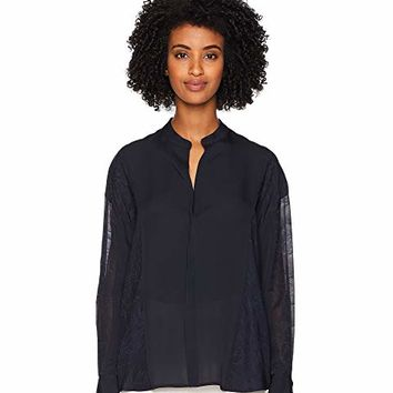 Vince Mixed Media Pullover Blouse