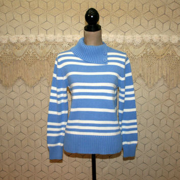 Womens Pullover Sweater Medium Cotton Blue and White Stripe Spring Mock Turtleneck Womens Clothing