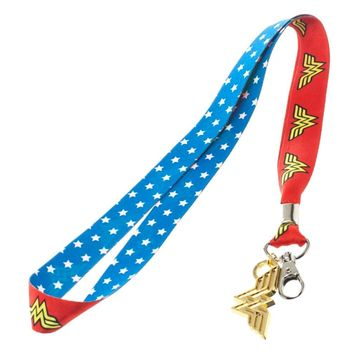 Wonder Woman Lanyard with Metal Charm and Clear ID Holder