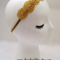 The Audrey - gold Great Gatsby headband, gold art deco fascinator,1920s accessories, gold flapper headpiece, gold 1920s headband