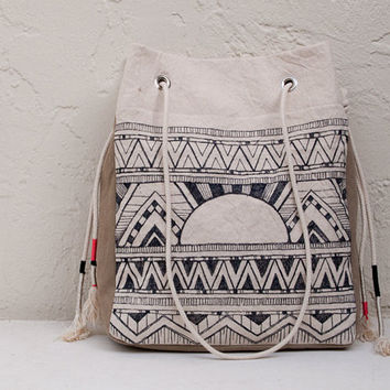 Tribal Tote Hand Drawn Original Surf Art by theAtlanticOcean