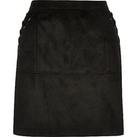 Black faux suede whipstitch mini skirt