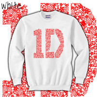 1D One Direction Floral Red Ink White Crewneck Sweatshirt Size SMALL