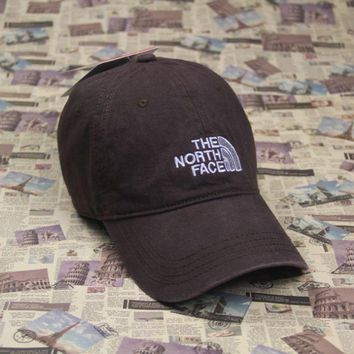 PEAPDQ7 The North Face Embroidered Brown Cotton Baseball Cap Hats