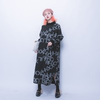 Jasmine Street dark black line oversize long spliced A letter hats long sleeved dress-in Dresses from Women's Clothing & Accessories on Aliexpress.com | Alibaba Group