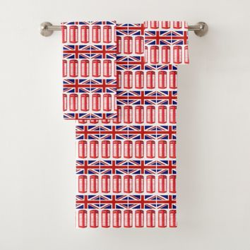British Flag Red Phone Booth Towel Set