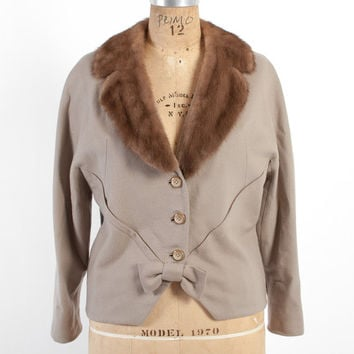 Vintage 50s JACKET / 1950s Cashmere Wool Cropped Coat with MINK Collar M - L