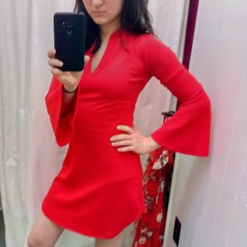 Hot Red Tunic Top with Bell Sleeves V-Neck Hippie