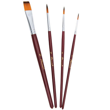 Double Tip Colored Nylon Artist Watercolor,Acrylic & Oil Paint Brushes Set