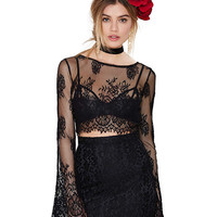 Lace Bell Sleeve Cropped Top