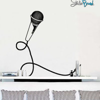 Vinyl Wall Decal Sticker Mic and Cord #449