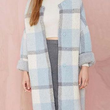 Womens Wool Duster - Blue and Gray Plaid / Open Design