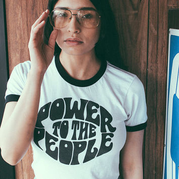 Power To The People Ringer Tee - Vintage Style - Super Soft - 10% Of Proceeds Go To Social Justice Organizations - Soft & Thin Ringer Tee