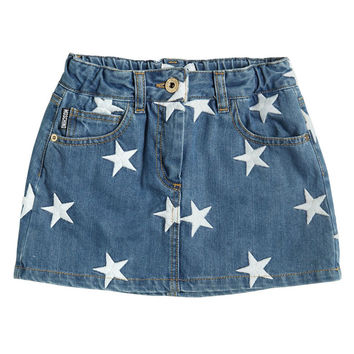 Moschino Girls Star Embroidered Denim Skirt (Mini-me) | New Collection