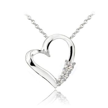 925 Silver CZ Three Stone Floating Heart Necklace, 18""