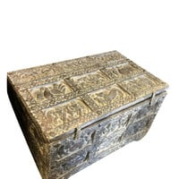Tribal Table Reclaimed Pitara Trunk Table Salvaged Distressed Antique Spanish Decor Mediterranean Space