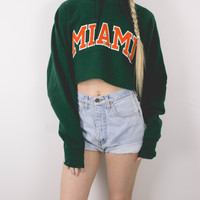 Vintage Miami College University Cropped Hoodie Sweatshirt