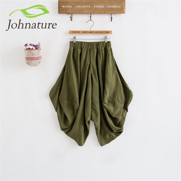 Johnature 2017 Summer Women Loose Bloomers Cotton Linen Vintage Pockets Plus Size Elastic Waist Mori Girl Casual Cross-Pants