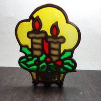 Vintage Cast Iron and Colored Glass Candle Holder with a Holly and Candle Design - Old Fashioned Christmas