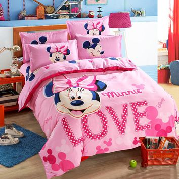 Lovely Pink Adult/kids Minnie Bedding Set Girls Duvet Cover Bed Sheet Cartoon Pattern Full Queen Twin Bed Linen 1.2m.1.5m Bed