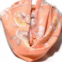 Peach infinity scarf. Circle scarf. Floral Scarf. Loop Scarf. Women Accessories.