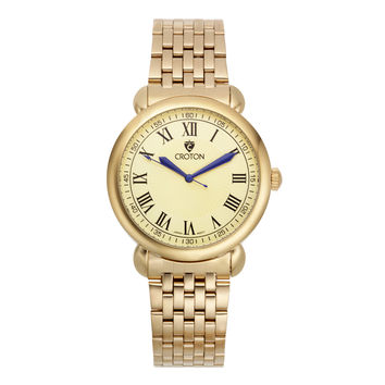 Croton Mens Stainless steel Goldtone Champagne Dial Watch
