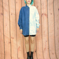 90s Ombre Bleached Denim Shirt Hipster Acid Wash Long Sleeve Button Down Half Two Tone Blue Jean Top (L/XL)