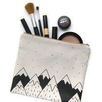 Cotton zipper pouch, toilet bag, handbag screen printed. Mountains Illustration