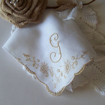 Bride's Hanky Monogrammed G in Ecru with a Gold Floral Design, Vintage Wedding Hankerchief, Bridal Shower Gift for a Fall Wedding
