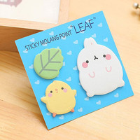 Memo Pads Sticky Notes Labels | Bookmark Stationary Paper | School Office Supplies | Leaf Chick Rabbit Cute Korean Post-It M43