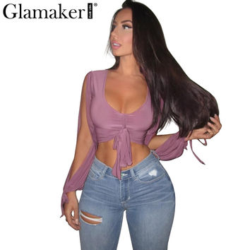 Glamaker Sexy deep v neck female blouse shirt Women front bow tie casual shirt Summer split long sleeve club purple women tops