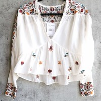 Free People Ava Embroidery Blouse ivory