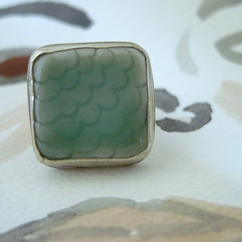 Sale///Ceramic and sterling silver ring, mint ring, one of a kind ring, handmade jewelry, mermaid ring, scallop jewelry, modern jewelry