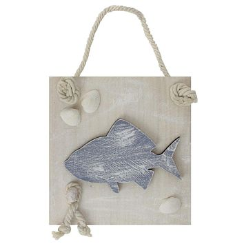 """6"""" Blue and White Cape Cod Inspired Fish Wall Hanging Plaque with Seashells"""