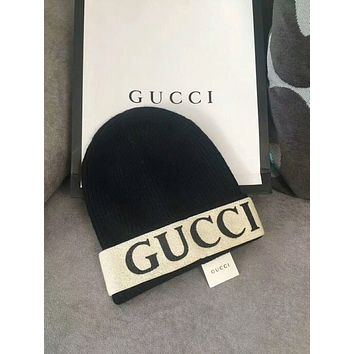 GUCCI Woman Fashion Beanies Winter Embroidery LOGO  Hat Cap-Black