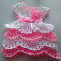 Newborn Girl Coming Home outfit in white and baby pink ruffle baby dress crochet infant dress handmade baby girl dress butterfly detail